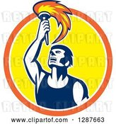 Vector Clip Art of Retro Male Athlete Holding up a Torch in an Orange White and Yellow Circle by Patrimonio