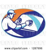 Vector Clip Art of Retro Male Automotive Glass Installer Putting in a New Windshield in a Blue and Orange Ray Oval by Patrimonio