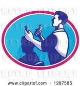 Vector Clip Art of Retro Male Barber Cutting a Client's Hair with Clippers in a Pink White and Blue Oval by Patrimonio