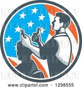 Vector Clip Art of Retro Male Barber Cutting a Client's Hair with Clippers in an American Flag Circle by Patrimonio
