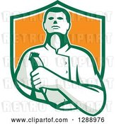 Vector Clip Art of Retro Male Barber Holding Clippers in a Green White and Orange Shield by Patrimonio
