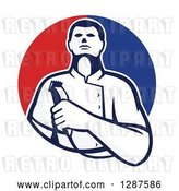 Vector Clip Art of Retro Male Barber Holding Clippers in a Half Red and Blue Circle by Patrimonio