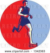Vector Clip Art of Retro Male Barefoot Runner in a Red Circle by Patrimonio