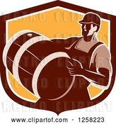 Vector Clip Art of Retro Male Bartender Carrying a Keg in a Brown and Orange Shield by Patrimonio