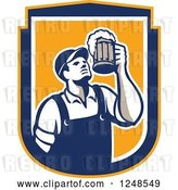 Vector Clip Art of Retro Male Bartender Cheering with Beer in a Shield by Patrimonio
