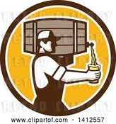 Vector Clip Art of Retro Male Bartender Pouring a Glass of Beer from a Keg in a Brown White and Orange Circle by Patrimonio