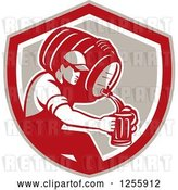 Vector Clip Art of Retro Male Bartender Pouring Beer from a Keg in a Shield by Patrimonio