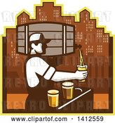 Vector Clip Art of Retro Male Bartender Pouring Different Types of Beer from a Keg Against a City Skyline by Patrimonio