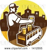 Vector Clip Art of Retro Male Bartender Putting a Beer on Top of a Brew Tour Van in a Cityscape Circle by Patrimonio