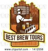 Vector Clip Art of Retro Male Bartender Putting a Beer on Top of a Brew Tour Van in a Cityscape Crest by Patrimonio