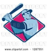 Vector Clip Art of Retro Male Baseball Player Batting Inside a Blue White and Pink Diamond by Patrimonio