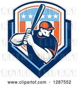 Vector Clip Art of Retro Male Baseball Player Batting Inside a Patriotic American Shield by Patrimonio