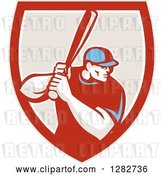 Vector Clip Art of Retro Male Baseball Player Batting Inside a Red White and Taupe Shield by Patrimonio