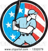 Vector Clip Art of Retro Male Baseball Player Batting Inside an American Stars and Stripes Circle by Patrimonio