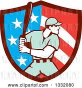 Vector Clip Art of Retro Male Baseball Player Batting Inside an American Stars and Stripes Shield by Patrimonio
