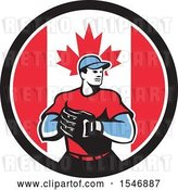 Vector Clip Art of Retro Male Baseball Player in a Canadian Flag Circle by Patrimonio