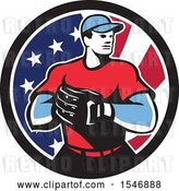 Vector Clip Art of Retro Male Baseball Player in an American Flag Circle by Patrimonio