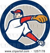 Vector Clip Art of Retro Male Baseball Player Pitching in a Blue White and Taupe Circle by Patrimonio