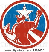 Vector Clip Art of Retro Male Baseball Player Pitching in a Red White and Blue Star Circle by Patrimonio