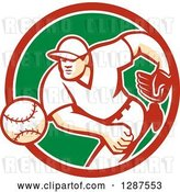 Vector Clip Art of Retro Male Baseball Player Pitching in a Red White and Green Circle by Patrimonio