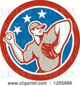 Vector Clip Art of Retro Male Baseball Player Pitching in an American Circle by Patrimonio