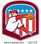 Vector Clip Art of Retro Male Baseball Player Pitching in an American Flag Shield by Patrimonio