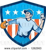 Vector Clip Art of Retro Male Baseball Player Pitching in an American Shield by Patrimonio