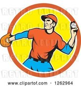 Vector Clip Art of Retro Male Baseball Player Pitching in an Orange White and Yellow Circle by Patrimonio