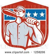 Vector Clip Art of Retro Male Baseball Player with a Bat over an American Flag Shield by Patrimonio