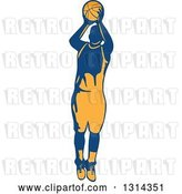 Vector Clip Art of Retro Male Basketball Player Doing a Jump Shot 2 by Patrimonio