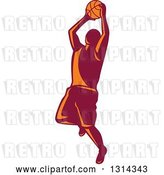 Vector Clip Art of Retro Male Basketball Player Doing a Jump Shot 3 by Patrimonio