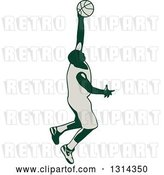 Vector Clip Art of Retro Male Basketball Player Doing a Jump Shot by Patrimonio