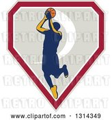 Vector Clip Art of Retro Male Basketball Player Doing a Jump Shot in a Shield by Patrimonio