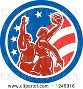 Vector Clip Art of Retro Male Basketball Players in an American Flag Circle by Patrimonio