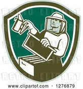 Vector Clip Art of Retro Male Beekeeper Smoking out a Hive Box in a Green and White Shield by Patrimonio