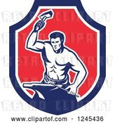 Vector Clip Art of Retro Male Blacksmith Hammering in a Shield by Patrimonio