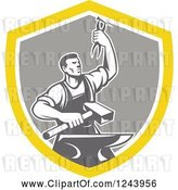 Vector Clip Art of Retro Male Blacksmith Holding up Pliers over a Sledgehammer and Anvil in a Shield by Patrimonio