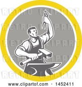 Vector Clip Art of Retro Male Blacksmith Holding up Pliers over a Sledgehammer and Anvil in a Yellow White and Gray Circle by Patrimonio