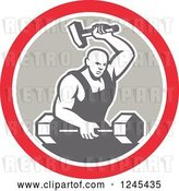 Vector Clip Art of Retro Male Blacksmith with a Hammer and Dumbbell in a Circle by Patrimonio