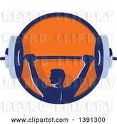 Vector Clip Art of Retro Male Bodybuilder Holding a Heavy Barbell over His Head in a Blue and Orange Circle by Patrimonio