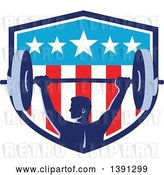 Vector Clip Art of Retro Male Bodybuilder Holding a Heavy Barbell over His Head in an American Shield by Patrimonio