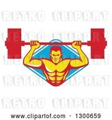 Vector Clip Art of Retro Male Bodybuilder Lifting a Barbell and Emerging from a Blue and White Diamond by Patrimonio