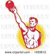 Vector Clip Art of Retro Male Bodybuilder Lifting a Kettle Bell by Patrimonio