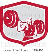 Vector Clip Art of Retro Male Bodybuilder Squatting with a Barbell in a Red and Gray Shield by Patrimonio