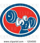 Vector Clip Art of Retro Male Bodybuilder Squatting with a Barbell in a Red White and Blue Oval by Patrimonio