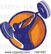 Vector Clip Art of Retro Male Bodybuilder Swinging a Barbell in a Blue and Orange Circle by Patrimonio