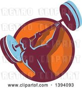 Vector Clip Art of Retro Male Bodybuilder Swinging a Barbell in a Purple and Orange Circle by Patrimonio