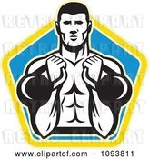 Vector Clip Art of Retro Male Bodybuilder Using Kettle Bells over a Pentagon by Patrimonio