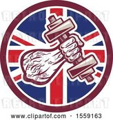 Vector Clip Art of Retro Male Bodybuilder's Arm with a Dumbbell in a British Flag Circle by Patrimonio