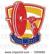 Vector Clip Art of Retro Male Bodybuilder's Hand Holding a Barbell with a Belt in a Shield by Patrimonio